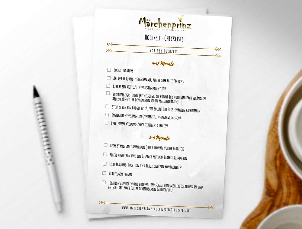 Checkliste Hochzeitsplanung Märchenprinz Hochzeitsfotografie