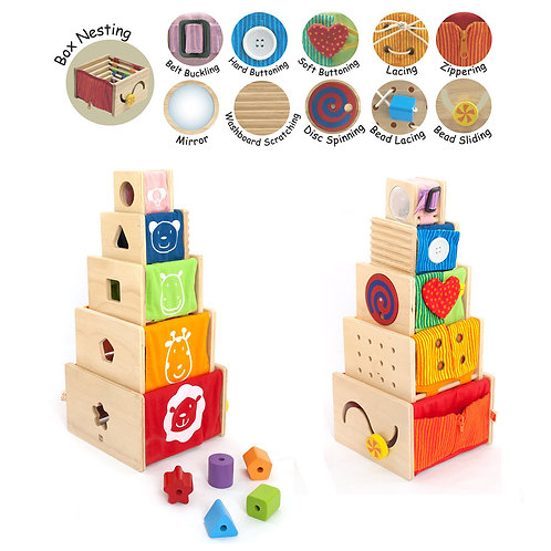 5 Activity Stackers, Perfect Toddler Gift, Eco-friendly, I'm Toy, Purchase with Purpose