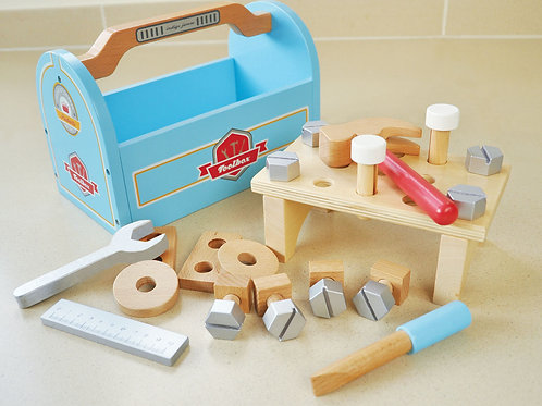 Little Carpenters Tool Box, Perfect gift for carpenters children, Wooden toy