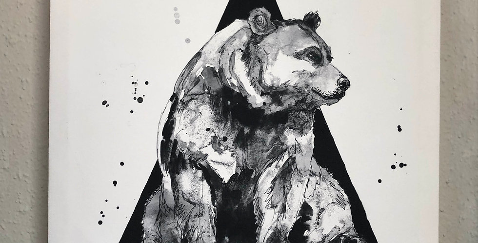 M Triangle Bear Canvas Print