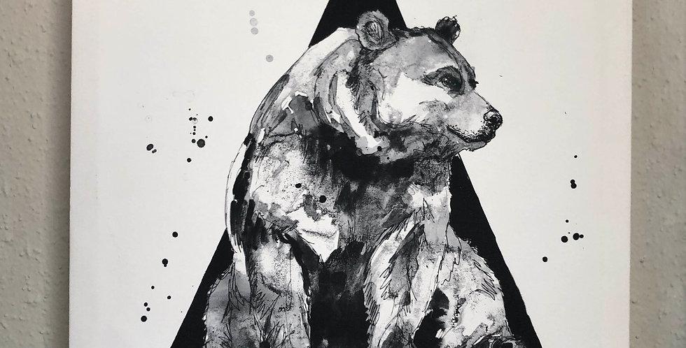 S Triangle Bear Canvas Print