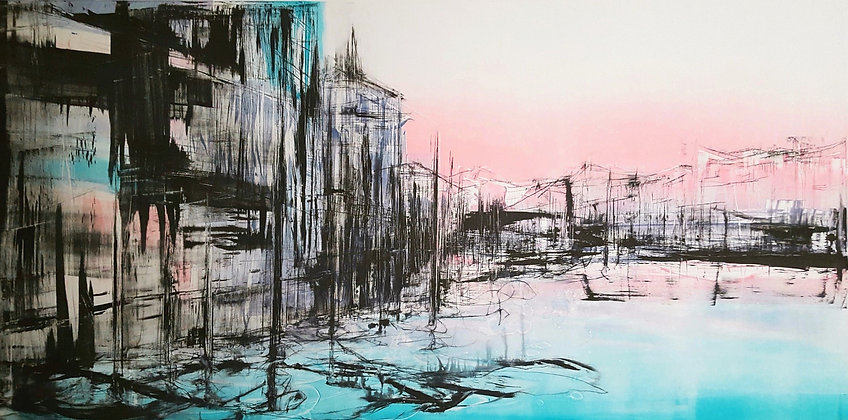 'Immortal Reflections in Rose Pink & Turquoise' No3'