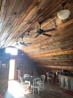 Repurposed barn wood ceiling