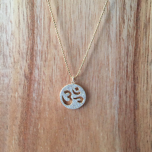 Gold Pave Om Chain Necklace