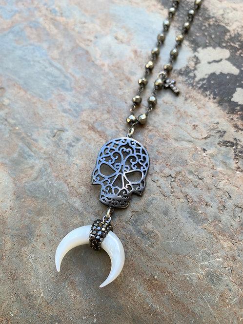 Black Skull Horn Moon Necklace