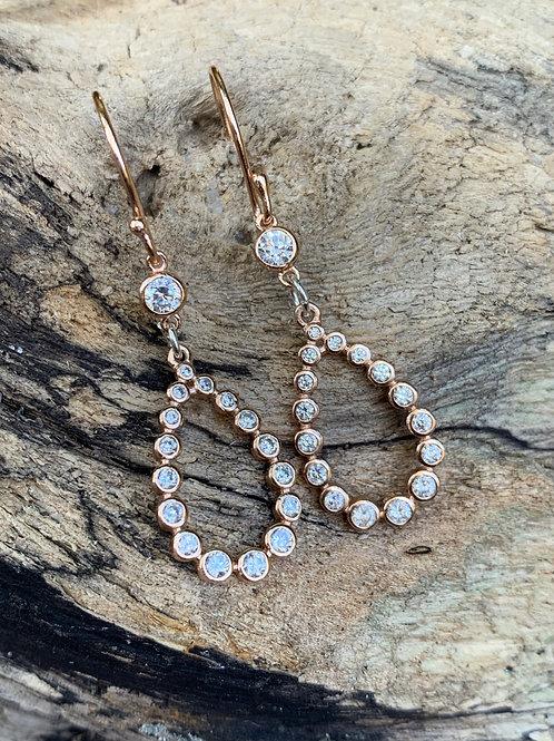 Rose Gold Crystal Teardrop Earrings