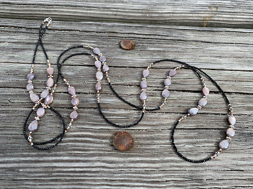 Peach Moonstone and Spinel Wrap Necklace