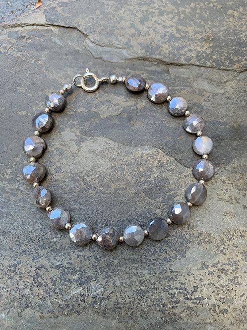 Grey Moonstone Coin Bracelet