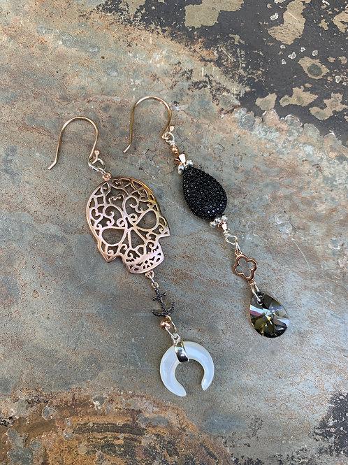 Rose Gold Skull Earrings- Anchor