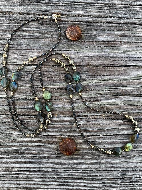 Labradorite & Brown Spinel Long Necklace
