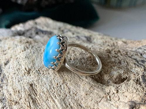 Crowned Larimar Ring