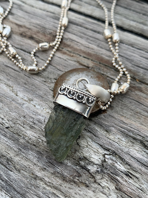 Moldavite Bali Necklace