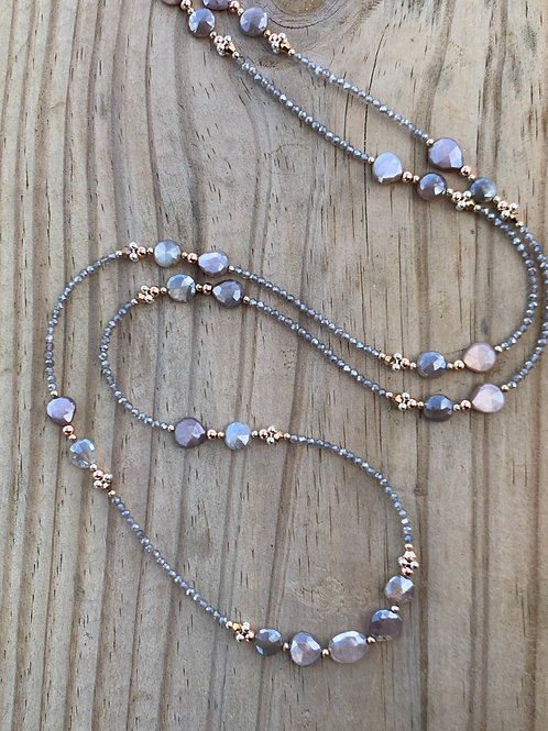Peach Moonstone & Gray Agate Necklace