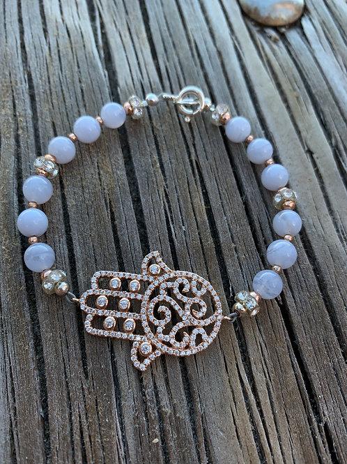 Blue Lace Hamsa Bracelet