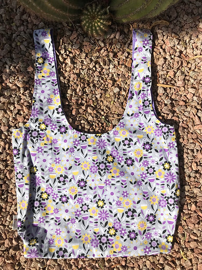 Purple Flowers Long Handled Reusable Shopping Tote