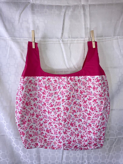 Pigs with Pink Handle Reusable Shopping Bag
