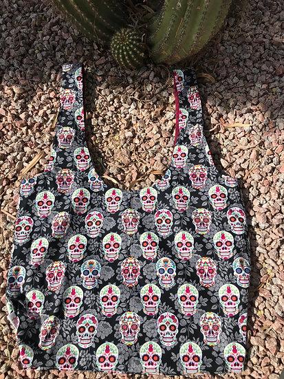 Sugar Skulls Long Handled Reusable Shopping Tote