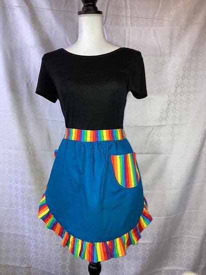 Adult Size Turquoise Rainbow Half Apron