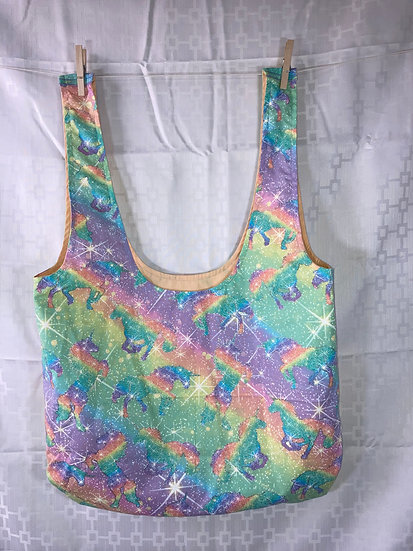 Pastel Rainbow Unicorns Long Handled Reusable Shopping Bag