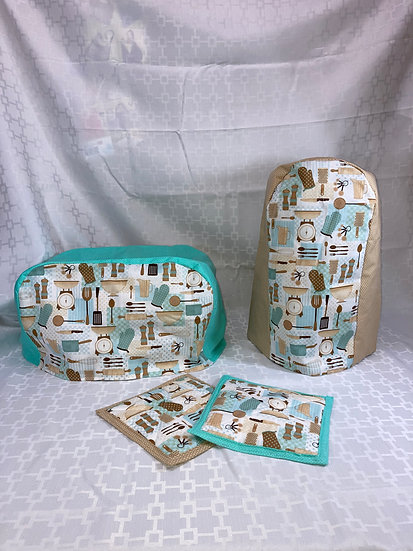 Turquoise and Tan Kitchen Set