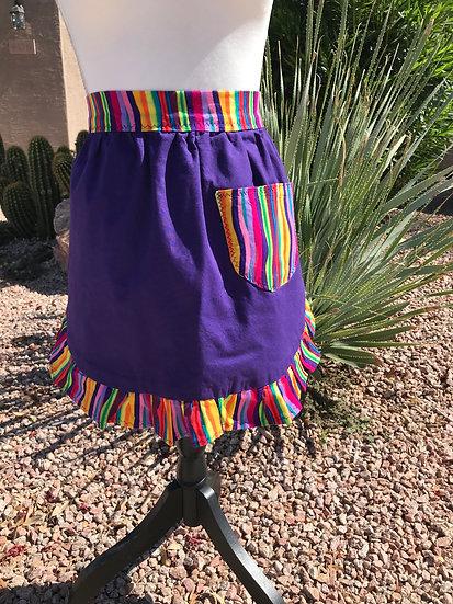 Adult Size Purple Rainbow Half Apron