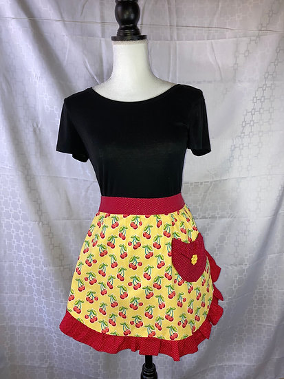 Adult Size Yellow Cherries with Red Dots Half Apron