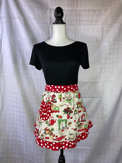 Adult Size Retro Kitchen with Red Dots Half Apron