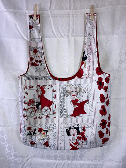 Ladies in Red Long Handled Reusable Shopping Bag