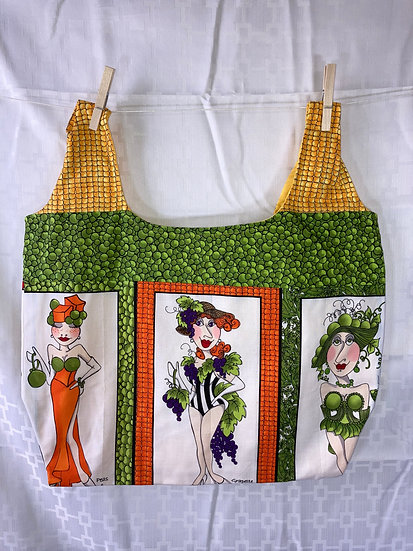 Veggie Ladies Peas and Corn Reusable Shopping Bag