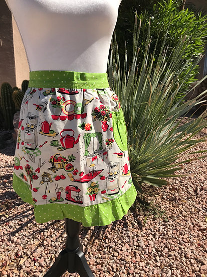 Adult Size Retro Kitchen with Green Dots Half Apron