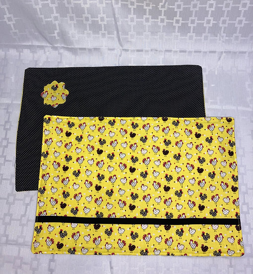 Chickens on Yellow Reversible Placemats