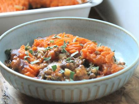 Mushroom, Lentil and Sweet Potato Pie
