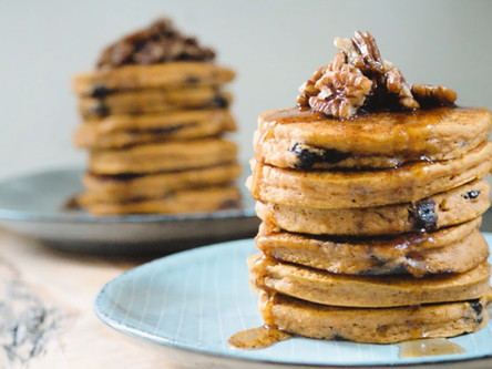 Pumpkin and Chocolate Chip Pancakes with Pecan Butter