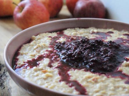 Apple Porridge with Blackberry Compote