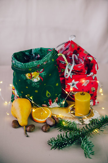Karácsonyi vászonzsák - ajándékszatyor