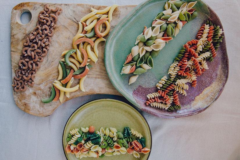 BIO tönköly 3 színű  kagyló tészta