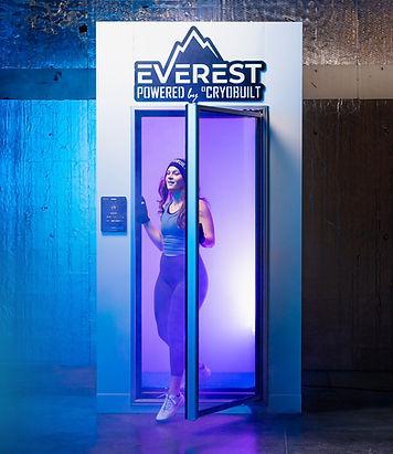 20-25 girl, everest chamber, cryobuilt chamber, cryotherapy chamber, stepping out, cryobuilt, cryotherapy, everest chamber cryobuilt, freezing cold chamber