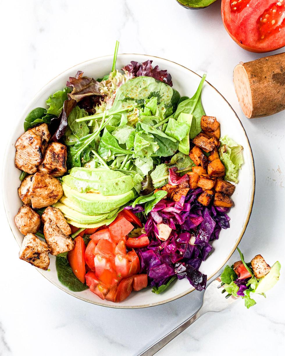 Easy Balsamic Chicken Rainbow Salad