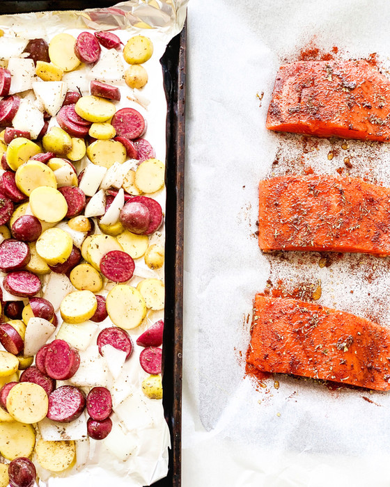 Honey Spiced Salmon and Roasted Potatoes