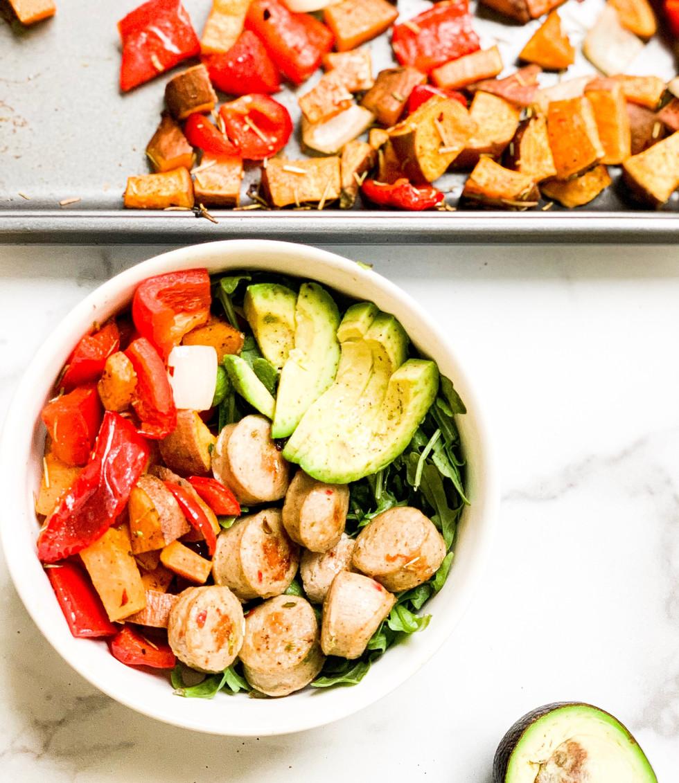One Sheetpan Dinner: Chicken Sausage and Veggies