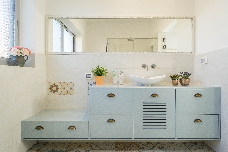 עיצוב ארון רחצה בתכלת חדר רחצה הורים