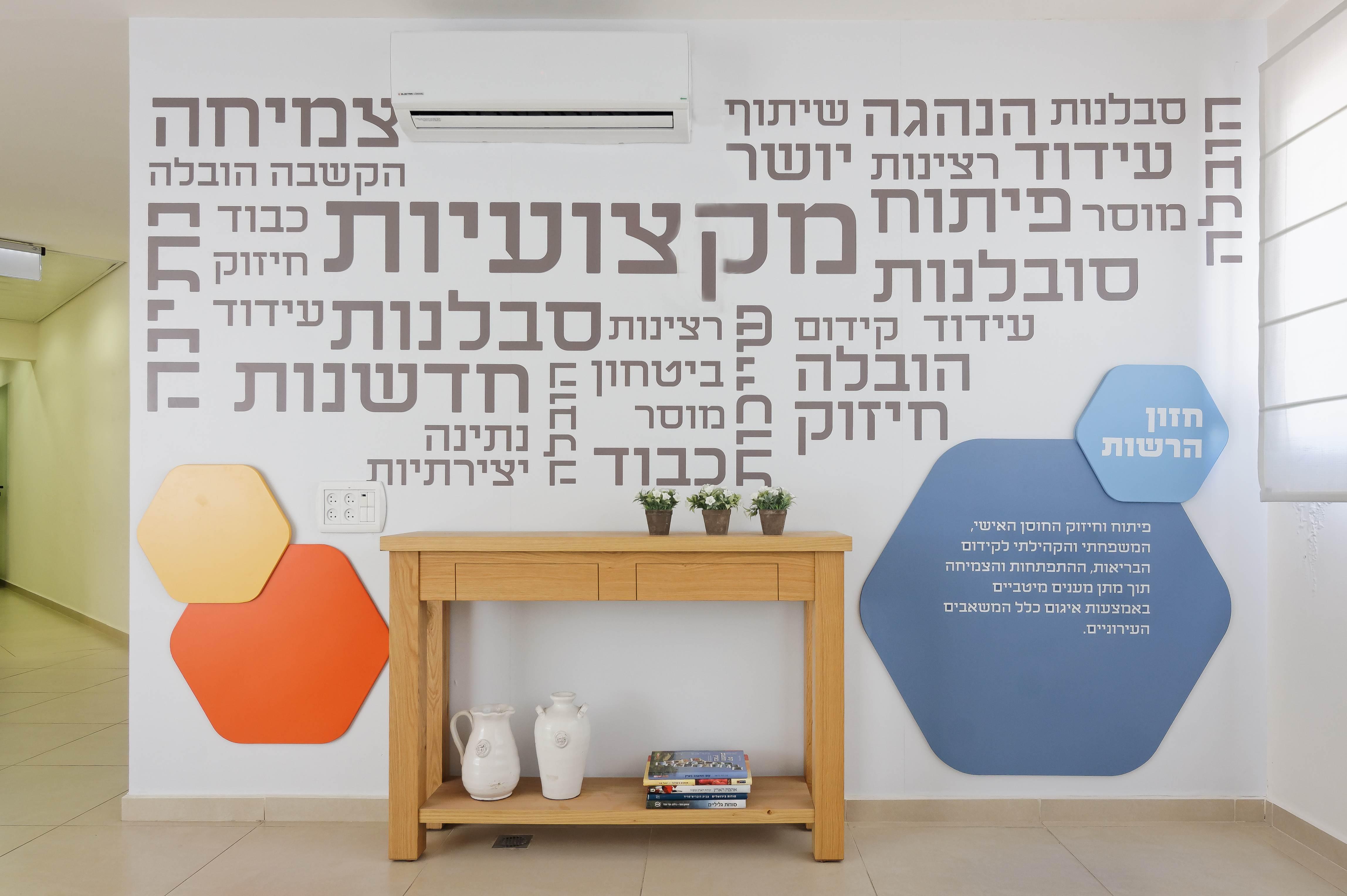עיצוב משרדים קיר כניסה