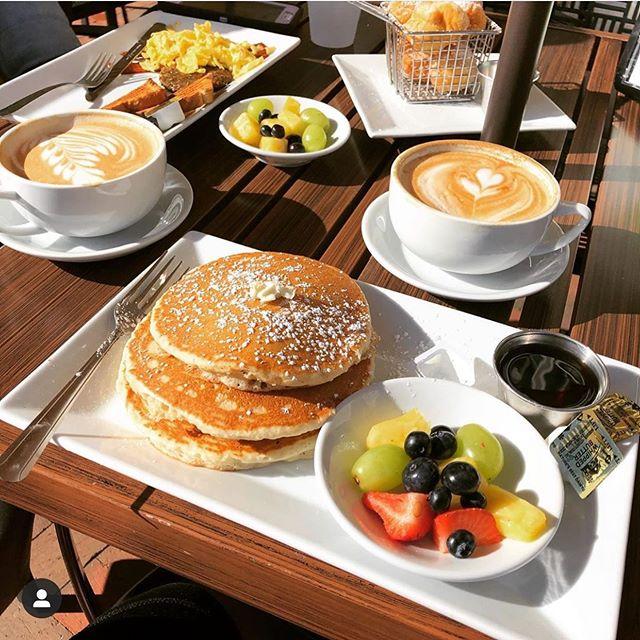 fresh fruit, pancakes, latte