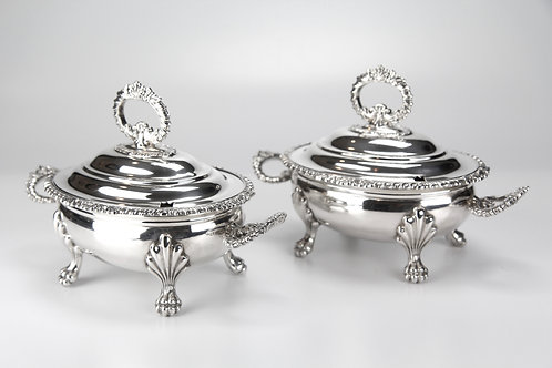 Silver-plated English Sauce Tureens (Matching Pair)