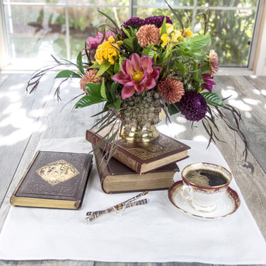 Morning coffee with a good book