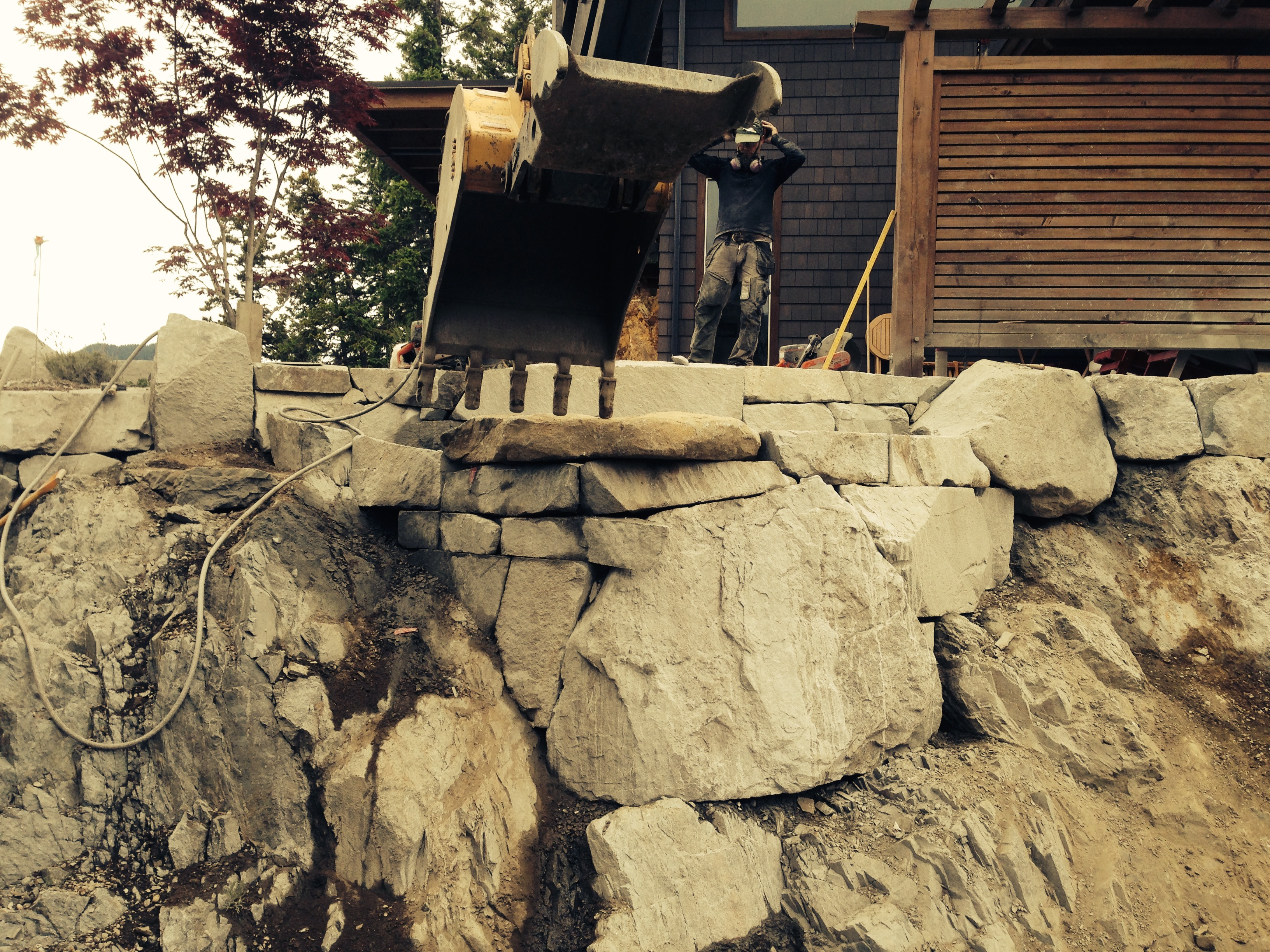 Cut into Bedrock Retaining wall
