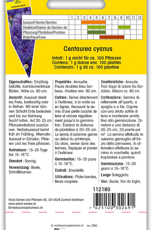 Kornblumen tiefblau - Centaurea cyanus