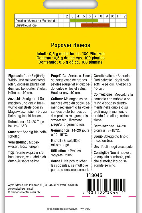 Klatschmohn rot - Papaver rhoeas