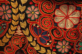 350px-Kazakh_rug_chain_stitch_embroidery