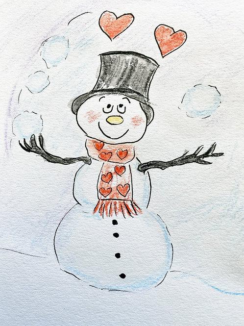 Carte - bonhomme de neige Coeur